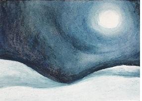 Schneelandschaft mit Vollmond , von Sahra B., M-Gruppe Jugendliche