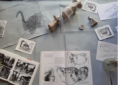 Thema Elefanten , diverse Technken werden umgesetzt, Malakdemie Jugend,