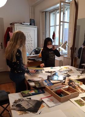 in der Malakademie Kids beim Gestalten...März 2021