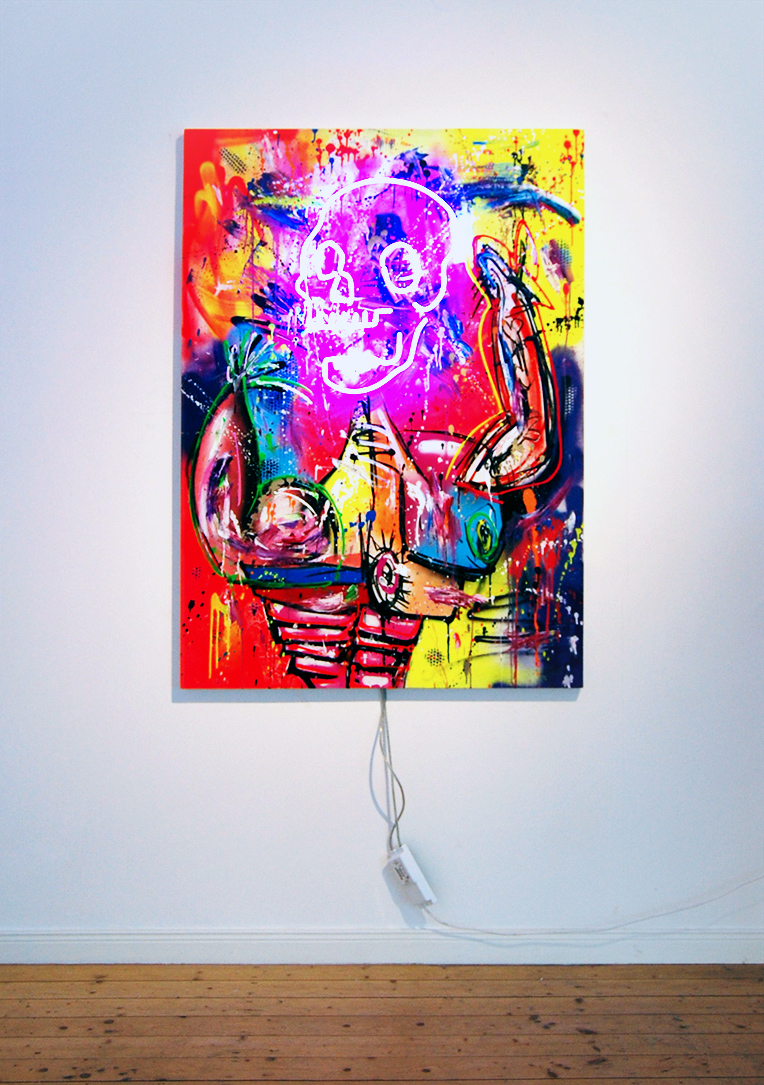 METHADONIS, 2019, mixed media and neon light on wood, 140x100x5cm