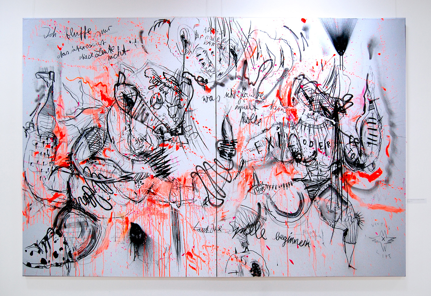 WAYNE INTERESSIERTS IM KLEINEN SCHWARZEN, 2012, mixed media on canvas, 200x300cm