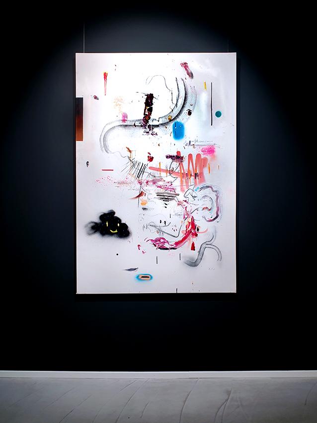 DAS SCHLIMMSTE HANDICAP BEIM GOLF IST KEINE ARME ZU HABEN, 2015, mixed media on canvas, 150x100cm k