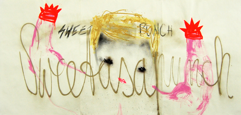 SWEET AS A PUNCH, 2009, mixed media on paper, 100x210cm