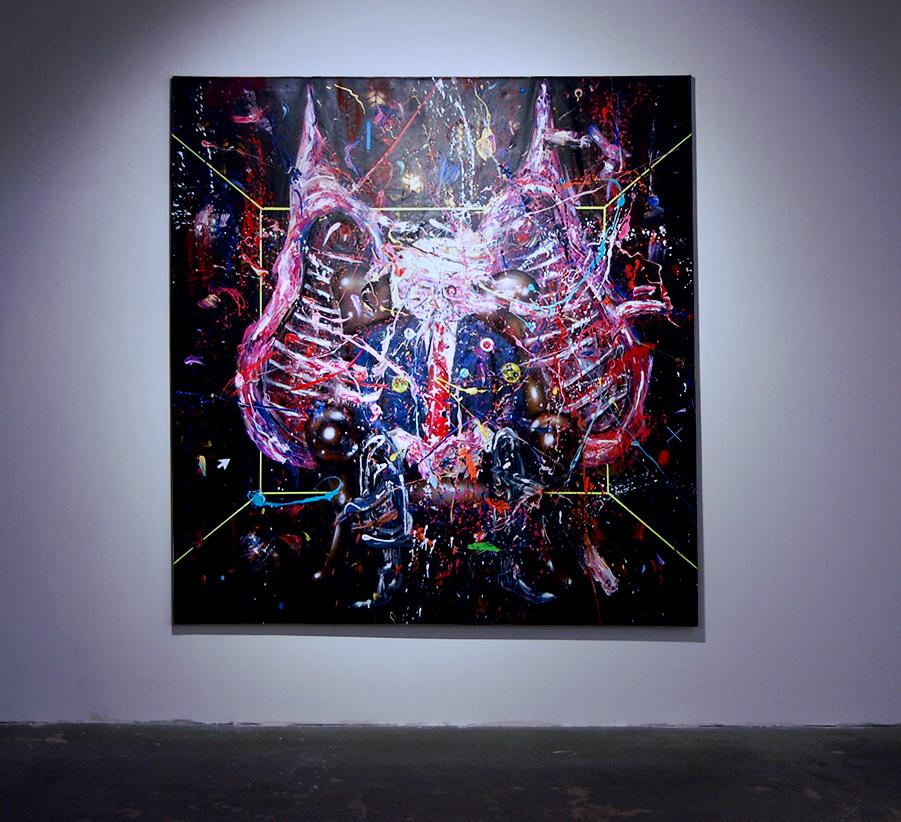 GOTT ZIEHT ALLES, 2017, mixed media on canvas, 190x180cm