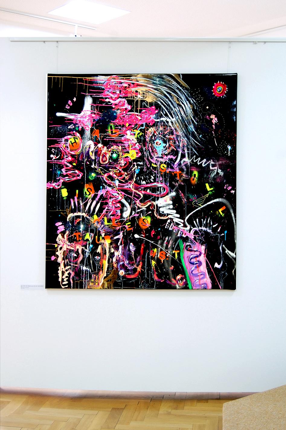 WIR HABEN DIE ÜBERKNALLER WIE DIE VIETNAMESEN, 2012, Mixed Media auf Lackstoff, 150x135cm