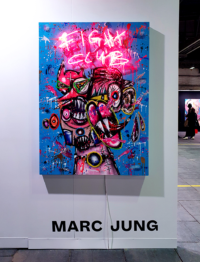 JAGDINSTINKT, 2020, mixed media and neon light on wood, 140x100x8cm SOLD