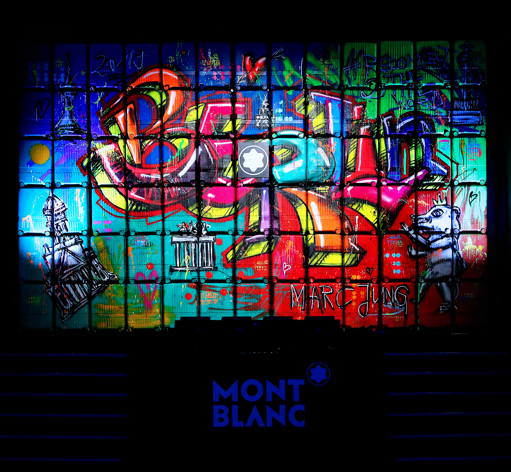 "MARC JUNG X MONTBLANC // ""WALLEY030"", 2019, mixed media on trolley wall, 5x8m, Berlin"