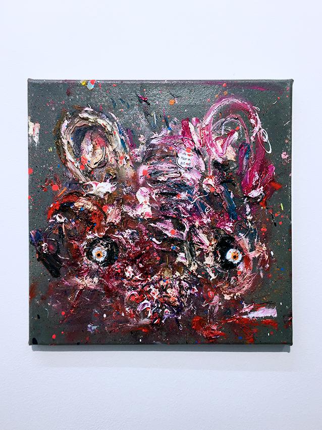 SUSHI DÖNER GLÜHWEIN, 2016, mixed media on canvas, 30x30cm