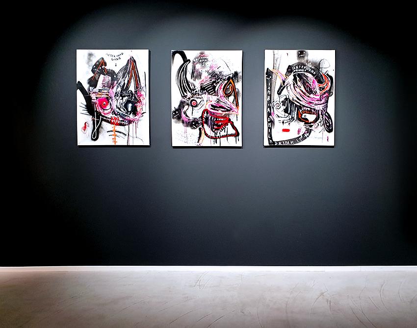 ARIGATO CUTE CERBERUS I - III, 2014,  mixed media on canvas, 80x60cm