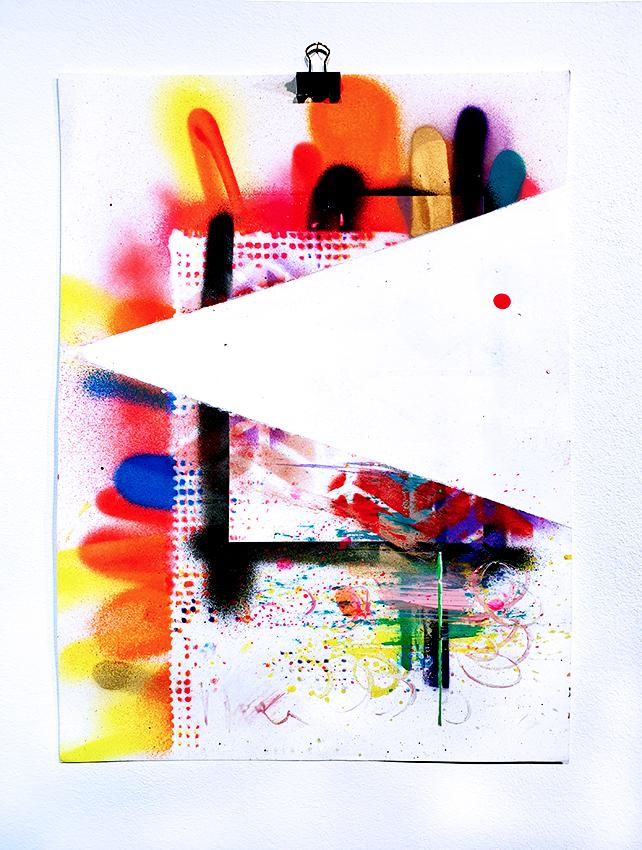 LETS FUCKING TECHNO, 2016, mixed mdia on paper, 42x29,7cm