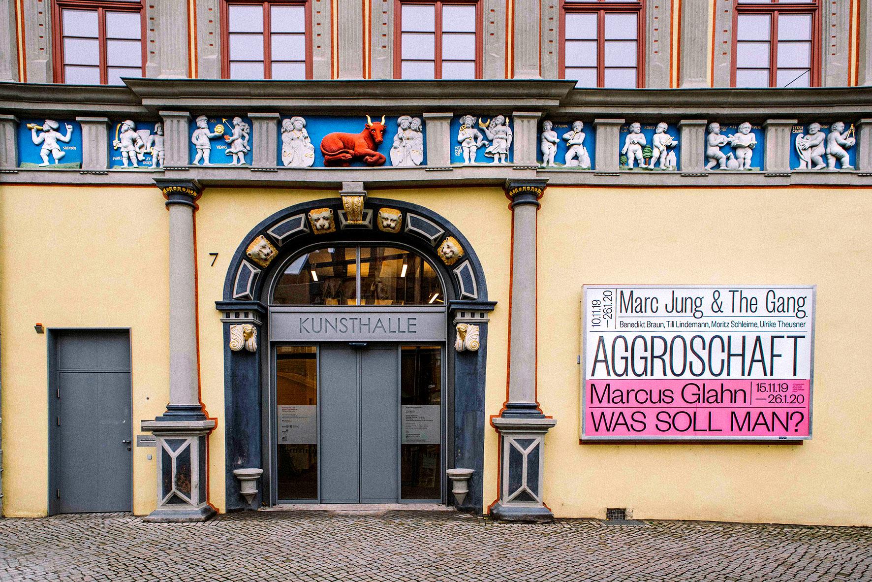 """""""AGGROSCHAFT - MARC JUNG & THE GANG"""", Benedikt Braun, Till Lindemann, Moritz Schleime, Ulrike Theusner, 2019, Kunsthalle Erfurt"""