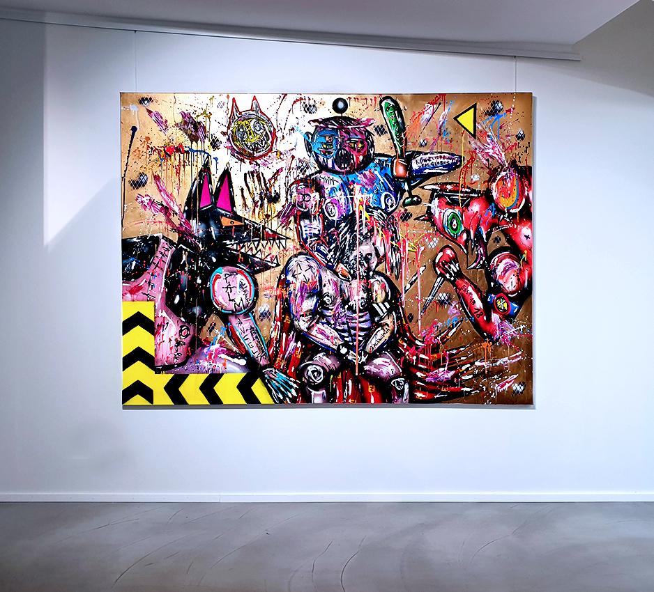 FREE DOOM DORNRÖSCHEN, 2020, mixed media on canvas, 150x200cm (golden background)
