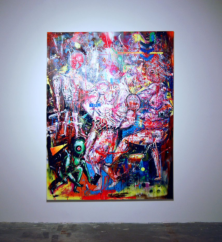 WIE JUDENSTERNE STARS IM GHETTO, 2017, mixed media on canvas, 200x150cm