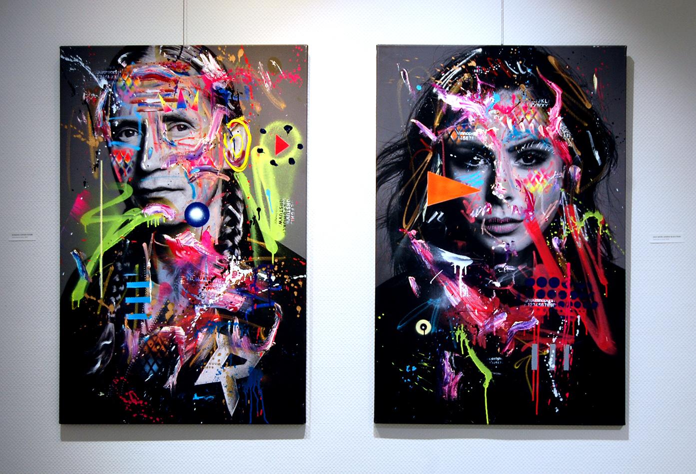 ROMANO CAPTAIN FUTURE, 2018, mixed media on canvas, 115x75cm LENA MEYER LANDRUT BLACK PEARL, 2018, mixed media on canvas, 115x75cm