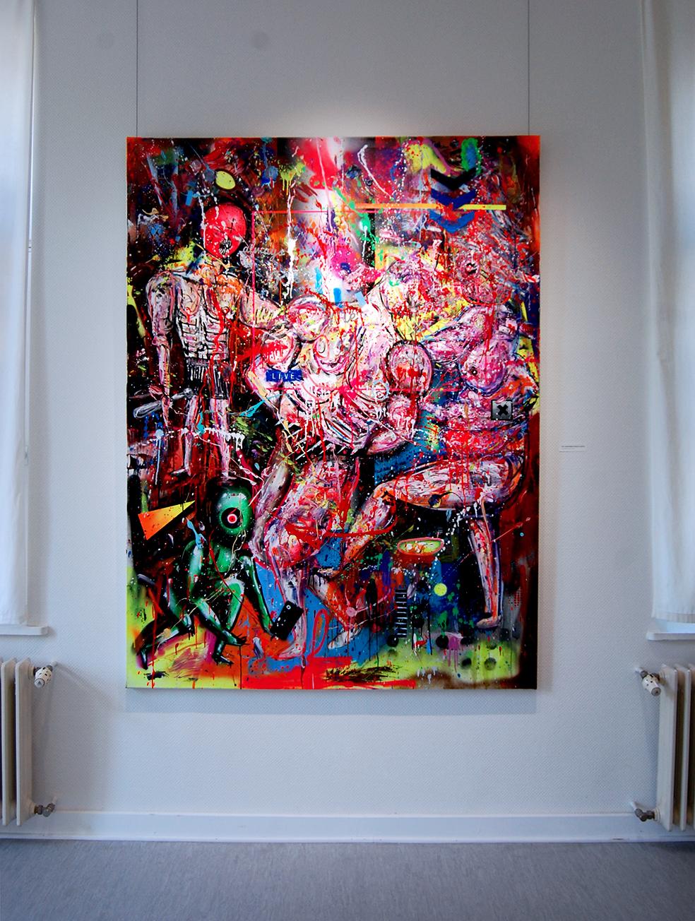 WIE JUDENSTERNE STARS IM GHETTO, 2017, mixed media on canvas, 200x150cm