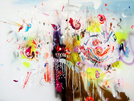 SCHMUTZSCHUTZSCHICHT, 2011, mixed media on canvas, 80x100cm