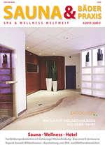 Sauna + Bäderpraxis des Deutschen Sauna Bund zeigt auf der Titelseite einen Wellnessbereich von pilzdesign