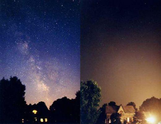 Bầu trời sau và trước khi mất điện ở Ontario, Hoa Kỳ