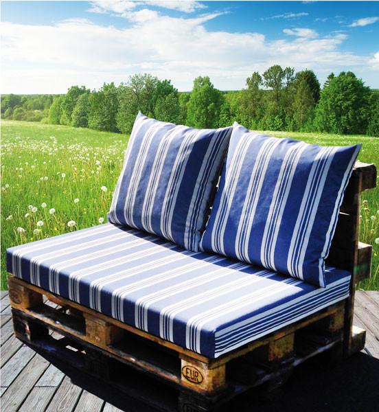 Anwendungsbeispiel Garten/ Terasse / Polsterung der Palettenmöbel
