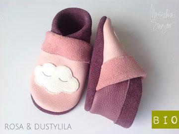 Krabbelschuhe Wolke in rosa & dustylila