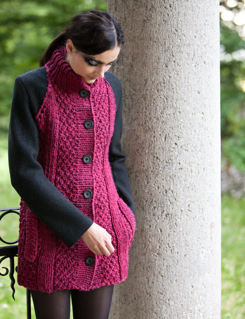 #Mantel #schwarz, #rot, #bordeaux, #Strick #knit #knitwear