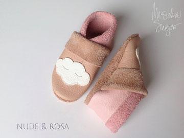 Krabbelschuhe Wolke in nude & rosa