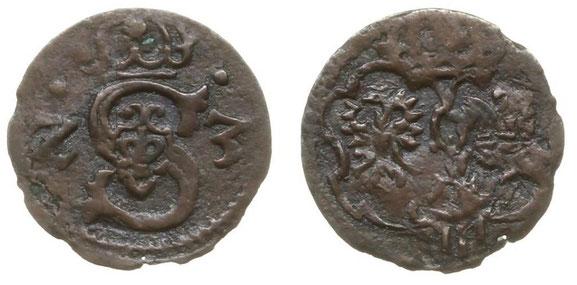 Awers: Z S 3 Ukoronowane z dwoma kropkami Rewers: Herby Polski i Litwy z herbem Bróg