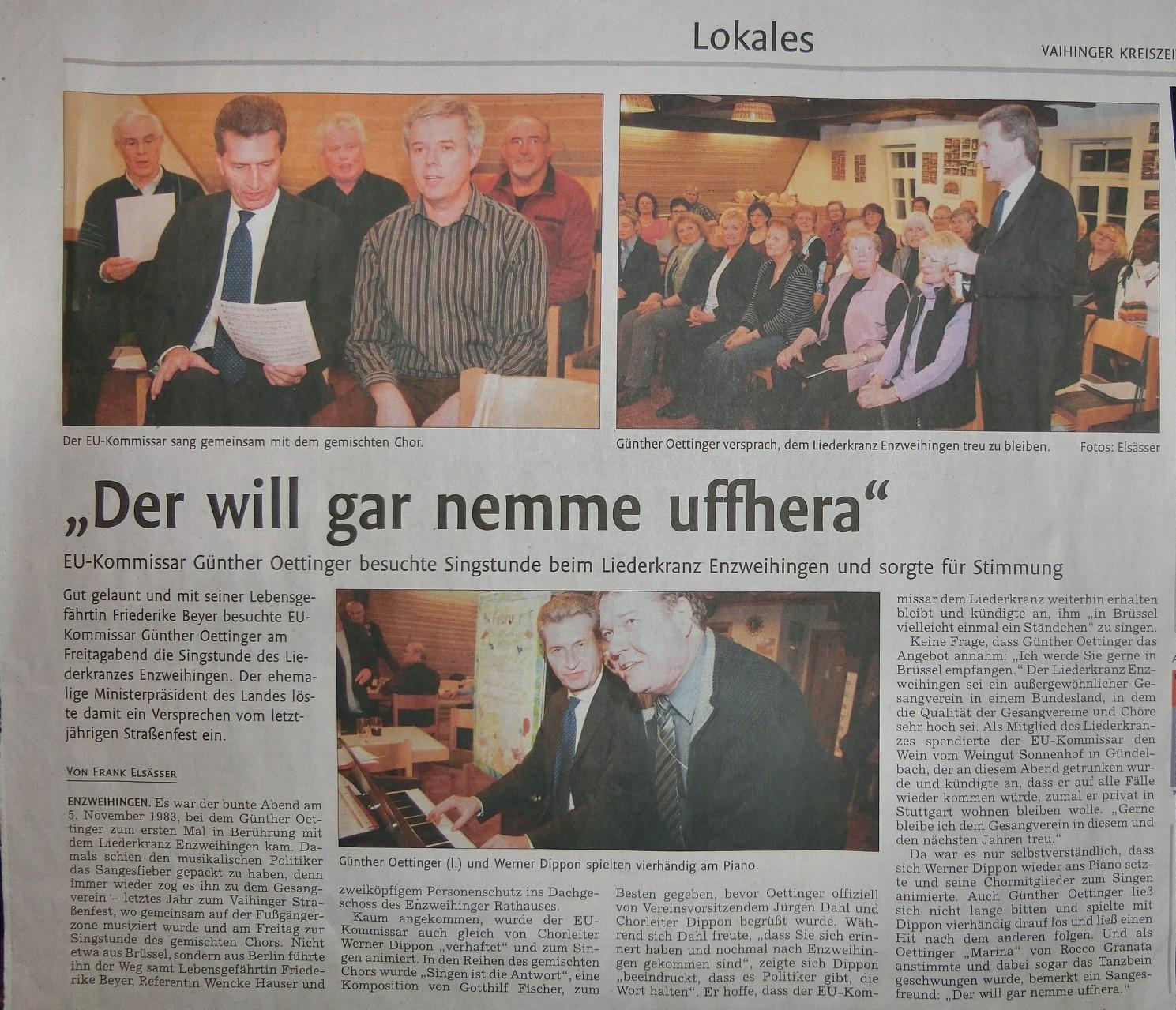 Ministerpräsident Oettinger bei Schnuppersingstunde des LKE