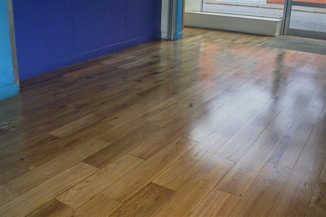 Office reception area finished with four coats of polyurethane floor lacquer