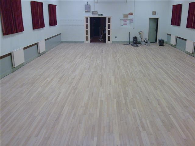 St Machins church hall sanded and ready to be finished with Junckers HP Commercial lacquer