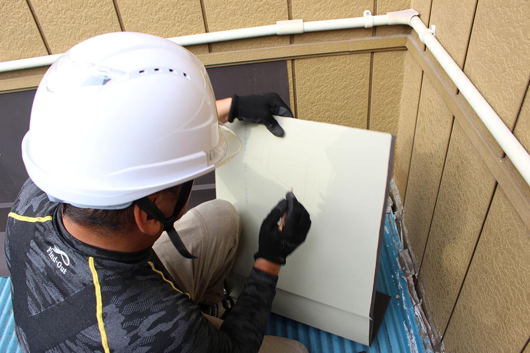 加工が難しい角部分|雨漏り修理工事【さいたま市北区日進町】