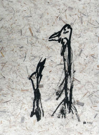 Zwiesprache (2003) Tusche auf Kahari 50x70 cm 350,- EUR