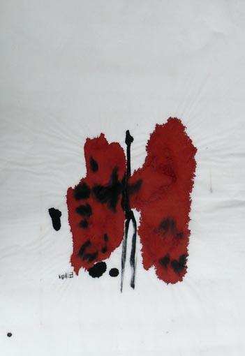 Zwiesprache rot I (2005) Tusche auf Chinapapier 50x70 cm 350,- EUR