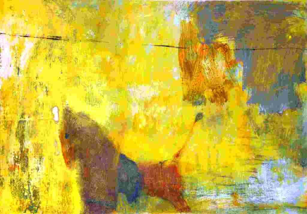 Löwe und Pferd (2013) Acryl 28x39 cm 700,- EUR