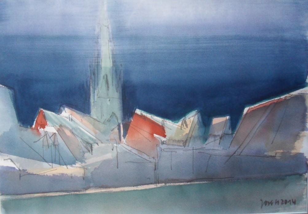 Blick auf die Marienkirche (2014) Aquarell 800,- Euro