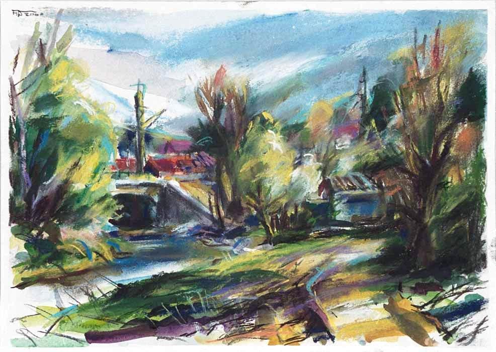 Landschaft mit Brücke (2000) Mischtechnik 50x60 cm 530,- EUR