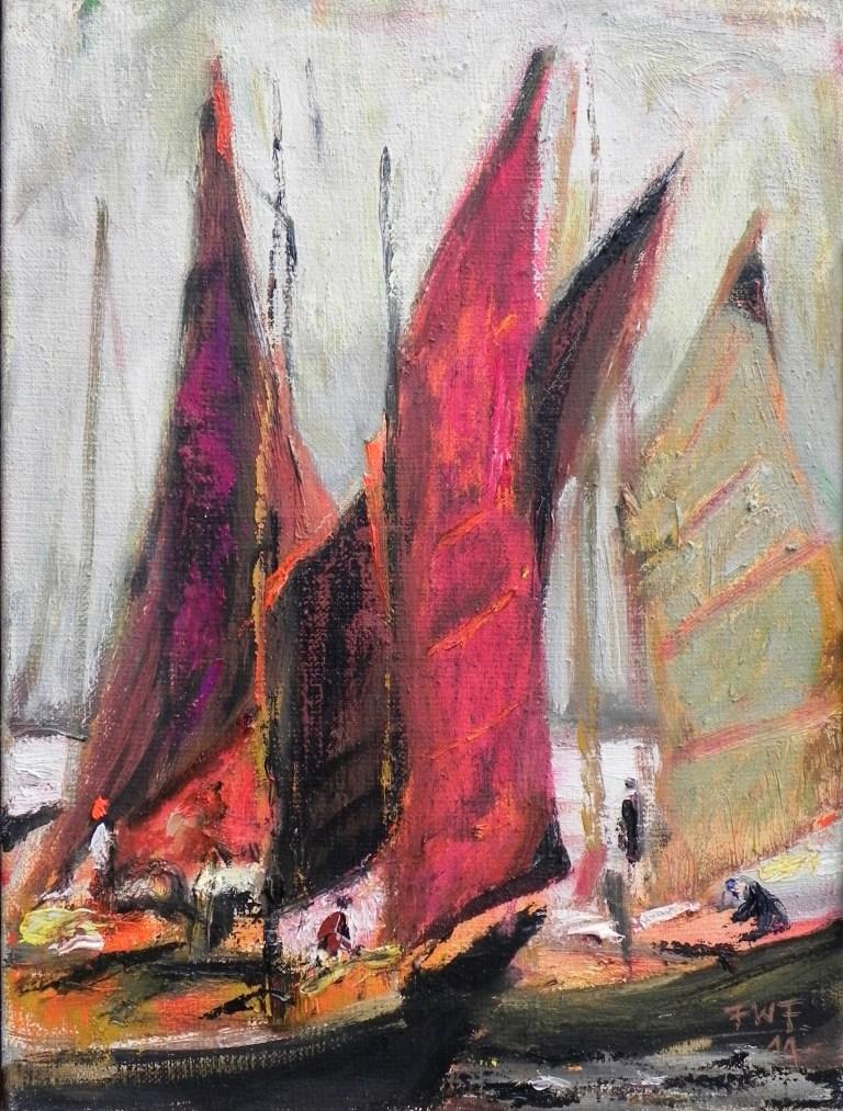 Rote Segel (2011) Öl auf Leinwand 40x30 cm 1.200,- EUR