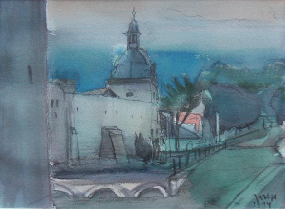 An der Stadtmauer I (2014) Aquarell 600,- Euro