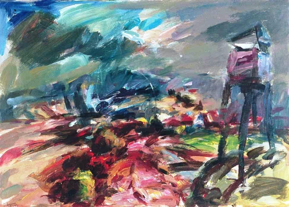 Landschaft mit Jagdturm (2004) Acryl 50x70 cm 860,- EUR
