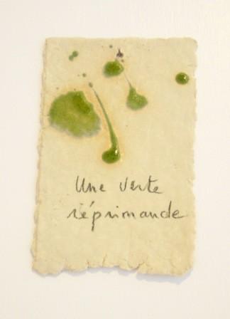 """Expressions en couleur 'Paperoles""""- """"Une verte réprimande"""", 2013 /porcelaine et cellulose gevormd, glazuur / price on request"""