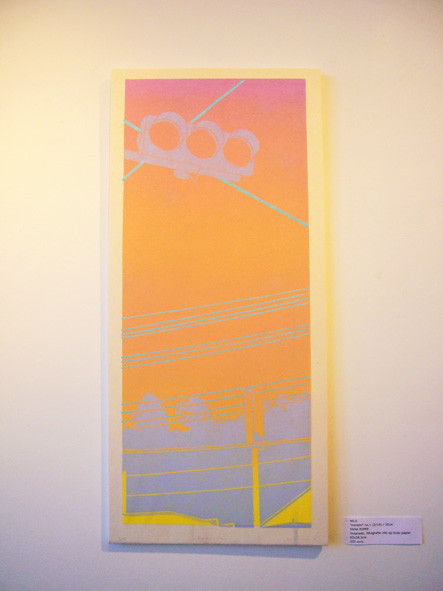 """Conbini"" no.1, 2014 / linosnede, lithografie inkt op Kozo papier, 63x28,5cm, (2/10)"