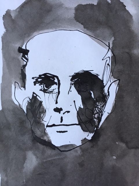 ピカソの肖像 Portrait of Pablo Picasso (sketch)  Ink on Paper 2003? ©︎ Hanae Tanazawa