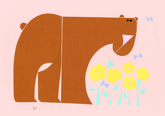 春くま 268 mm x 379 mm origami paper-cut 2015 Ⓒ Hanae Tanazawa