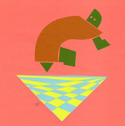 """カシオペアの指す方向 Where Cassiopeia Points at  (motif from """"Momo"""" by Michael Ende) 350 mm x 350 mm origami paper-cut 2013 Ⓒ Hanae Tanazawa"""