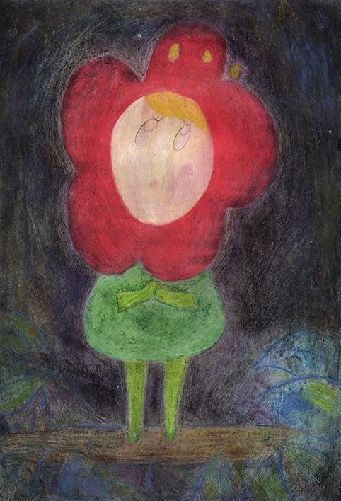 クサボケちゃん Little Kusaboke watercolor pencils and pastels 2013 Ⓒ Hanae Tanazawa