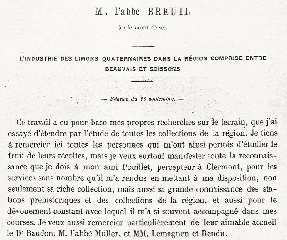 Communication de l'abbé Breuil au congrès de l'AFAS à Boulogne-sur-Mer en 1899
