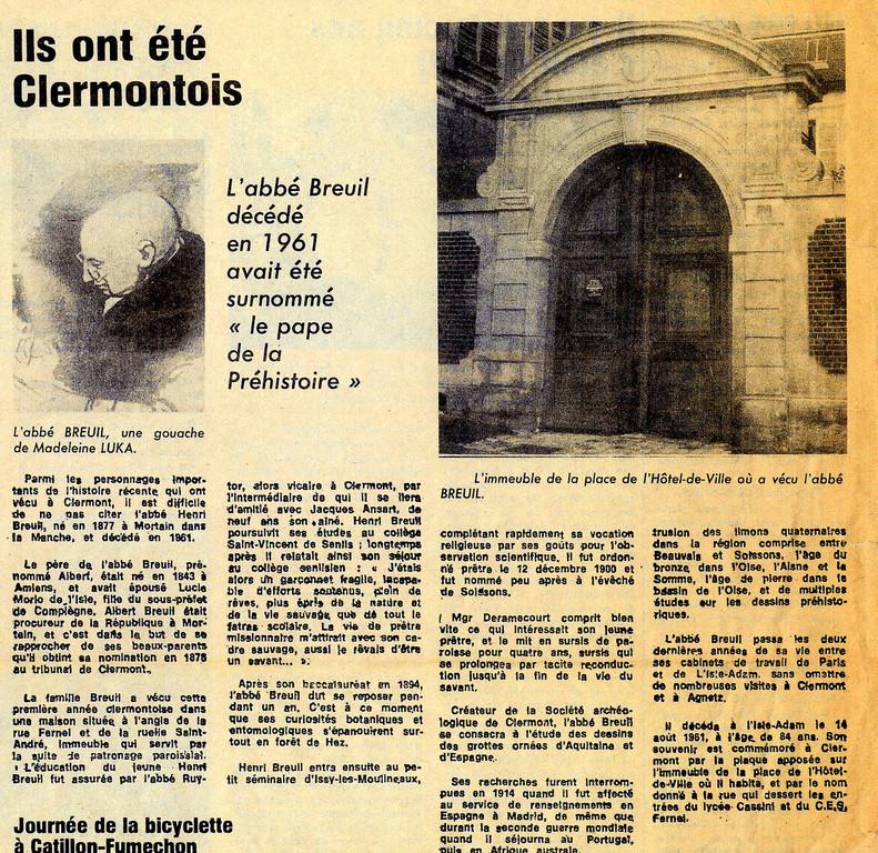 Article sur l'abbé Breuil