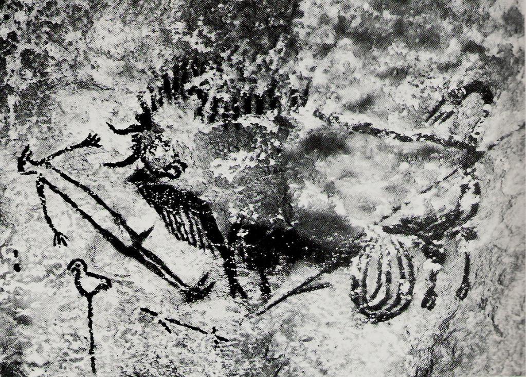 Scène du puits à Lascaux : personnage et bison atteint par une flèche