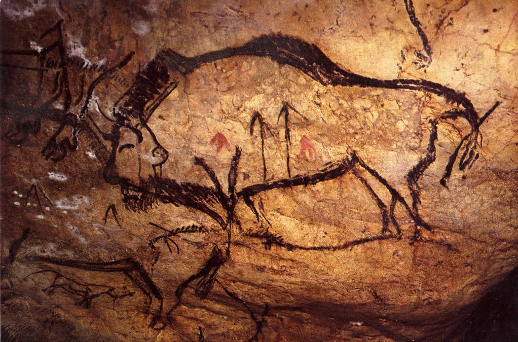 Bison peint et flêches à la grotte de Niaux (Ariège, arr. de Foix)