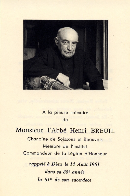 Abbé Breuil, faire part de décès